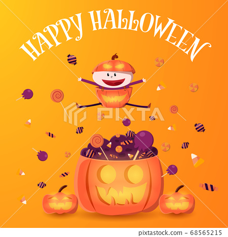 Kid in pumpkin costume jump on the pumpkin with pile of candy. Halloween vector illustration. 68565215