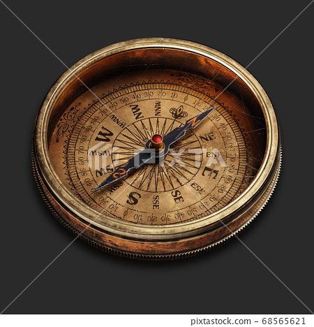 Vintage brass compass isolated on black background 3d 68565621