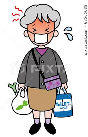 슈퍼에서 쇼핑의 반환 할머니 (폭염) 68565688