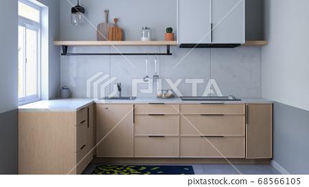 白色调简单厨房 68566105