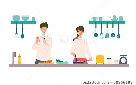 요리를 즐기는 남녀의 일러스트 68566195