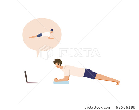 Illustration of a man doing muscle training in an online lesson 68566199