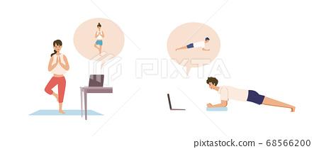在線課程在家培訓的男人和女人的插圖 68566200