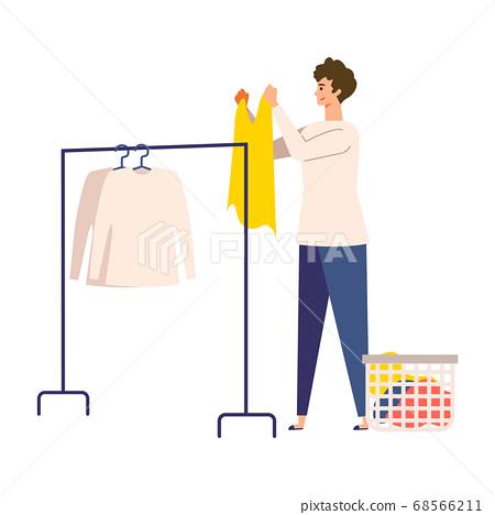 세탁 남성의 일러스트 68566211