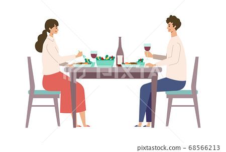 享用膳食的男人和女人的插圖 68566213