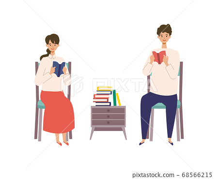 男人和女人享受閱讀的插圖 68566215