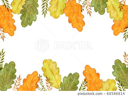 가을 잎 수채화 그림 프레임 68566814