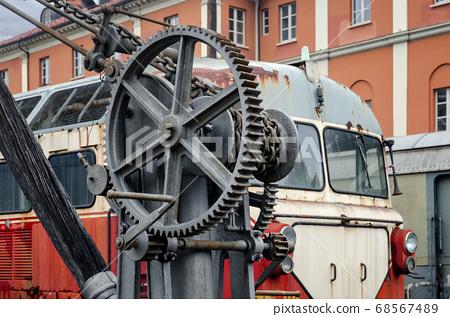 19th century iron crane in train station 68567489