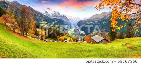 Fabulous autumn view of picturesque alpine Wengen 68567566