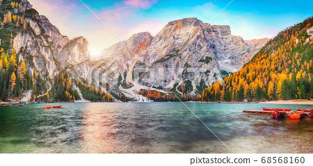 Fantastic scenery of famous alpine lake Braies at 68568160