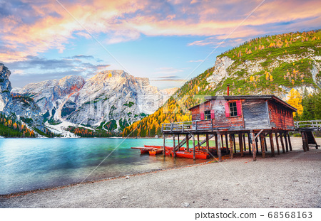 Amazing scenery of famous alpine lake Braies at 68568163