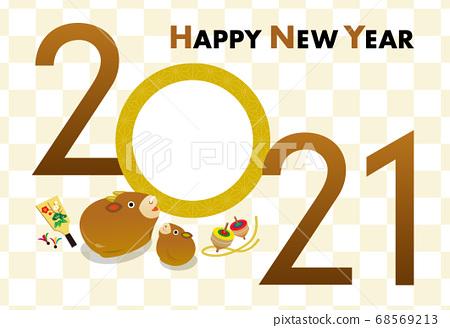 New Year's card 2021 _ year photo frame 68569213