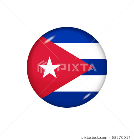 Round flag of Cuba. Vector illustration. Button, 68570014
