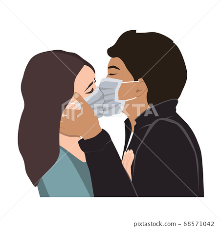 Love on Covid Quarantine, a Passionate Kiss Vector Illustration. Romantic man and woman couple kissing In Protective Medical Masks. Corona Virus Spread Prevention, forbidden love concept 68571042