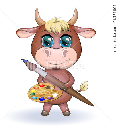 Cute cartoon cow, bull with a brush and a palette 68571801