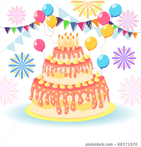 Cake birthday with candles and cream isolated on 68571870
