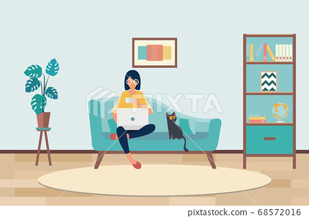 young asian woman working from home sitting on couch holding a cup of coffee using laptop computer 68572016