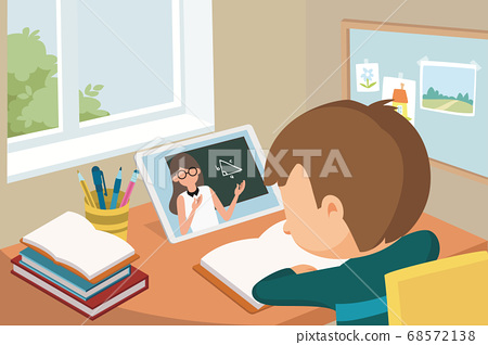 little asian schoolchild participating in a online class using digital tablet via video call 68572138