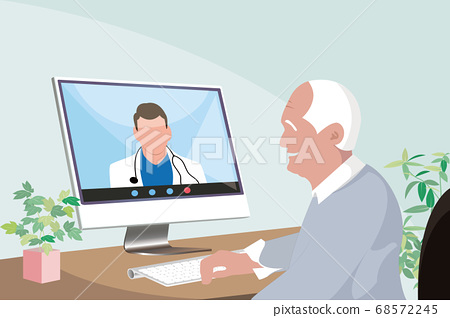 senior asian man staying at home consulting a doctor through video call 68572245