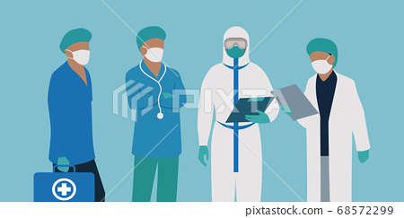a group of essential workers ready to be deployed during pandemic 68572299