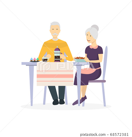 Cartoon Characters Family at Dining Table. Vector 68572381