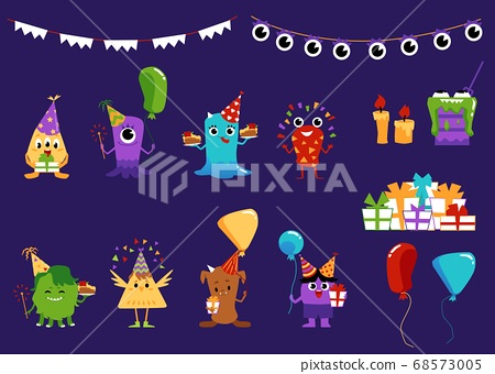 Party set with monsters and festive items flat vector illustration isolated. 68573005
