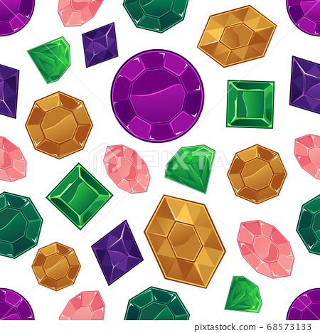 Colorful crystal and gem seamless pattern on white background 68573133
