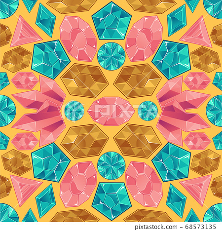 Seamless pattern of gold and pink, blue diamonds and precious stones on a yellow background. 68573135