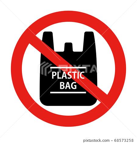 塑料購物袋/塑料袋禁止標記圖標(支付購物袋,生態,塑料垃圾桶,可回收利用) 68573258