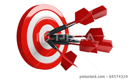 Some red dart arrows hit target.3d illustration. 68574329