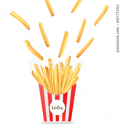 French fries in box template design, spread out into the air isolated on white 68575302