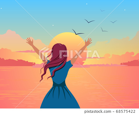 Girl joyfully greets sunset illustration. Beautiful cartoon girl on background of orange sea raises her hands up. 68575422