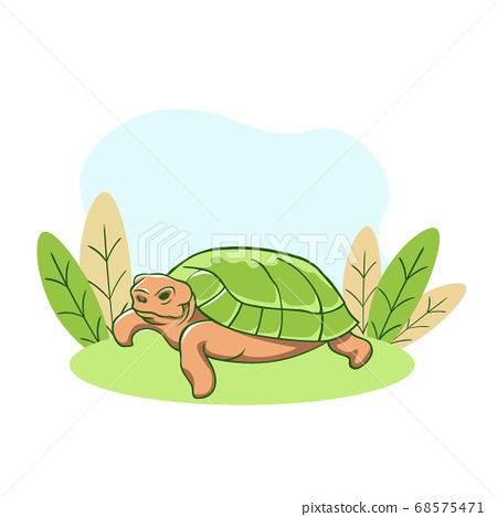 Turtle resting on lawn. Relaxed old animal with green shell dozing calmly in sunny. 68575471