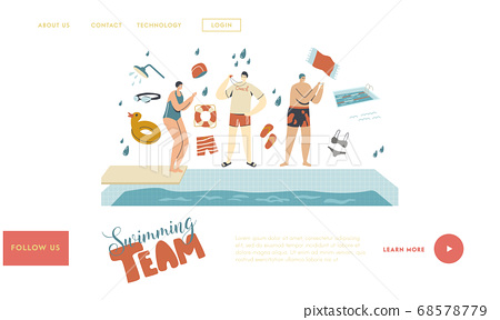 Swimmer Characters in Pool Landing Page Template. Swimming Class Coach Teaching Woman Stand at Poolside Learning to Swim 68578779