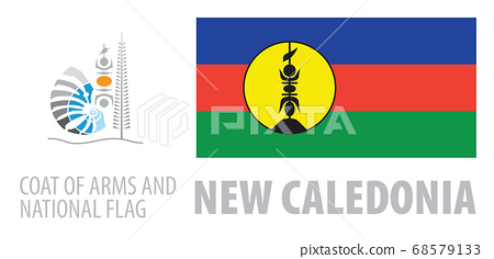 Vector set of the coat of arms and national flag of New Caledonia 68579133