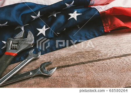 USA Labor day concept, Top view flat lay of 68580264
