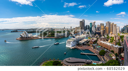 Sydney harbor bay and Sydney downtown skyline with opera house in a beautiful afternoon, Sydney, Australia. 68582029