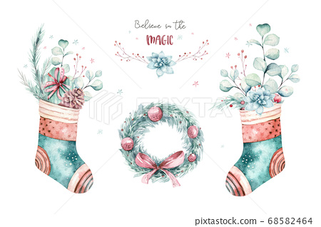 watercolor holiday christmas clipart. Winter decoration element. Merry christmas design. Pine tree branch, frame, berries. New year invitation decorative design 68582464