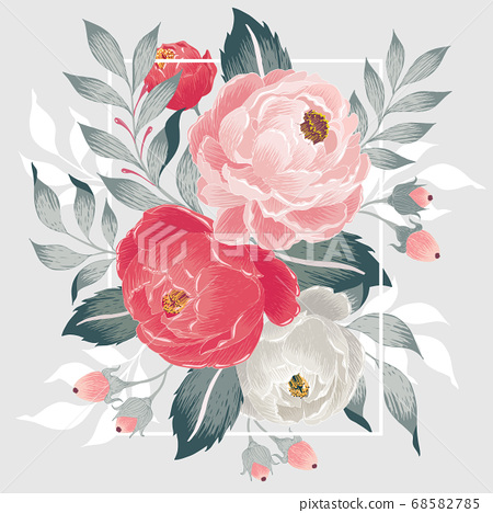 Vector illustration of a floral frame in spring 68582785