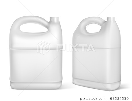 Plastic canisters, white jerrycan isolated bottles 68584550