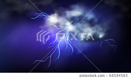 Lightning strikes and thundercloud, impact place 68584563