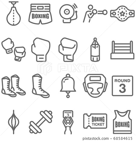 Boxing icon illustration vector set. Contains such icon as Sandbag, Champions Belt, Boxing short, Boxing gloves, Boxing shoes, Stage, Shirt and more. Expanded Stroke 68584615