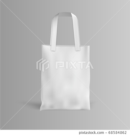 White fabric cloth bag on grey background, vector 68584862
