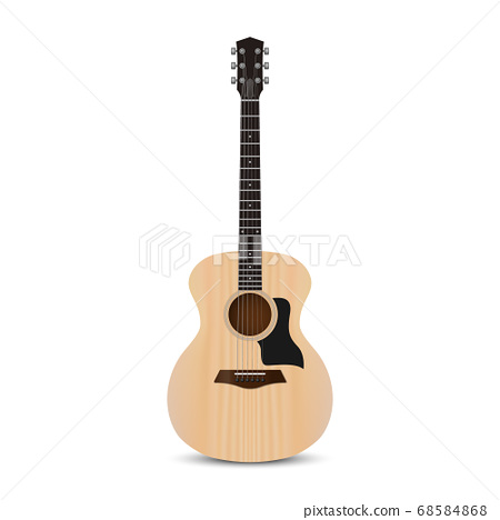 Realistic acoustic guitar isolated on white 68584868
