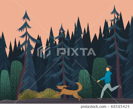 Sportsman walks the dog in deep blue gloomy coniferous forest. Outdoor activity and sport lifestyle 68585425