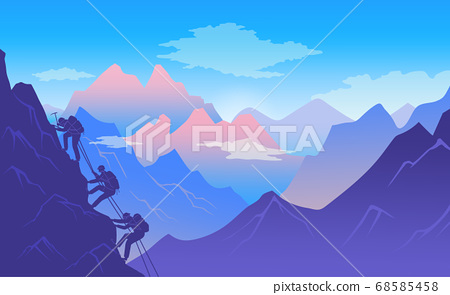 Mountaineers climb a mountain. Active and dangerous sport. Beautiful rock landscape flat image 68585458
