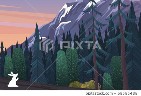 White hare on the edge of coniferous deep gloomy forest. Wild nature and animals. Flat image 68585488