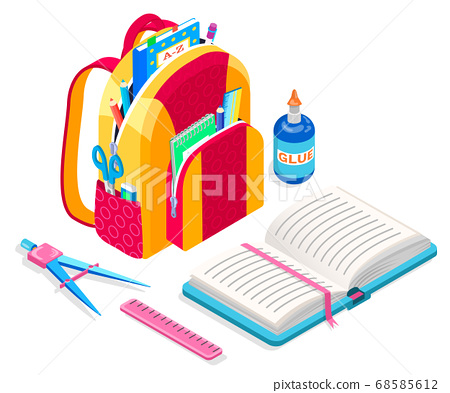 Satchel with Textbook, Book and Ruler, Glue Bottle 68585612