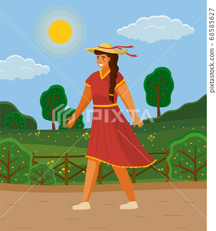 Beautiful girl in a straw hat in summer day outdoor. Young cheerful woman walking down the street 68585627