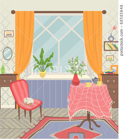 Room Interior Home, Table and Armchair Vector 68585648